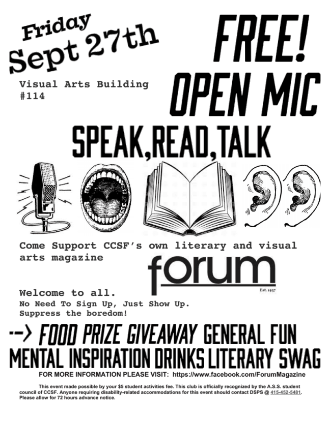 Open Mic - Friday Sept 27th @ 2pm