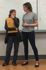 Professors Julie Young and Jen Sullivan Brych in a rare moment of seriousness