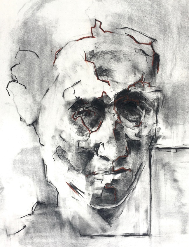 Face of a Woman, 2018, Charcoal on paper, 28x22, Oakland CA.jpg