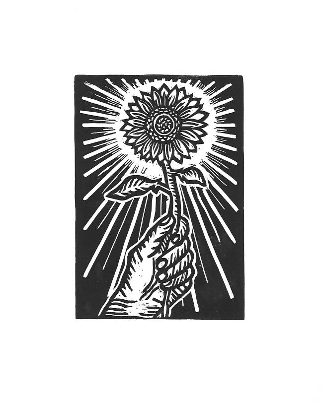 Sunflower_Visual Art_Linocut