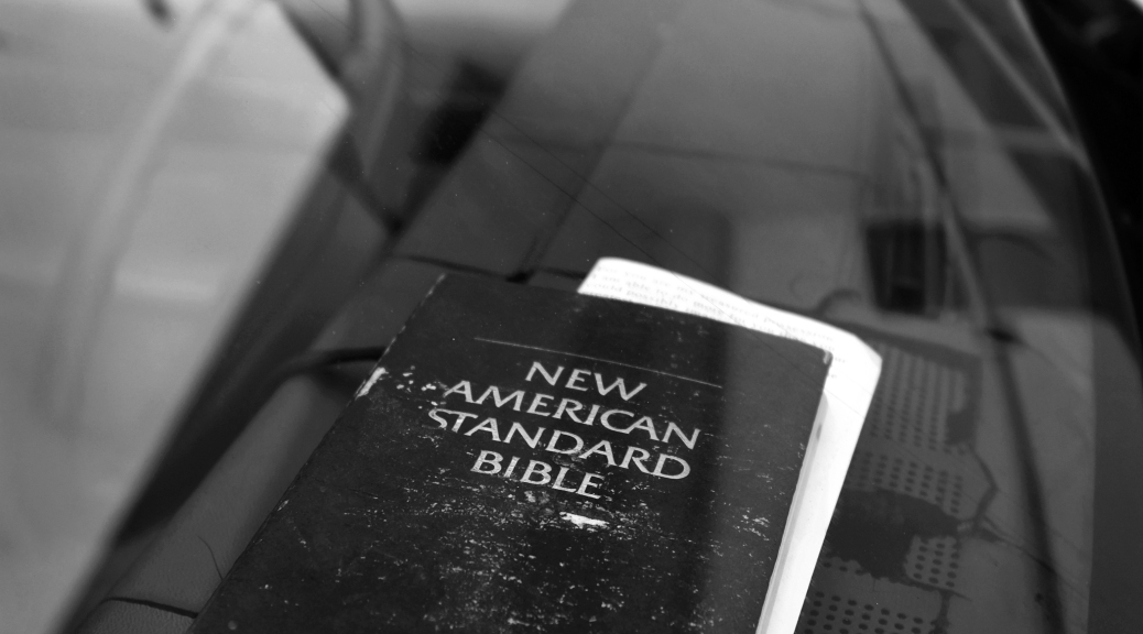 Bible on the dashboard of a '65 Buick