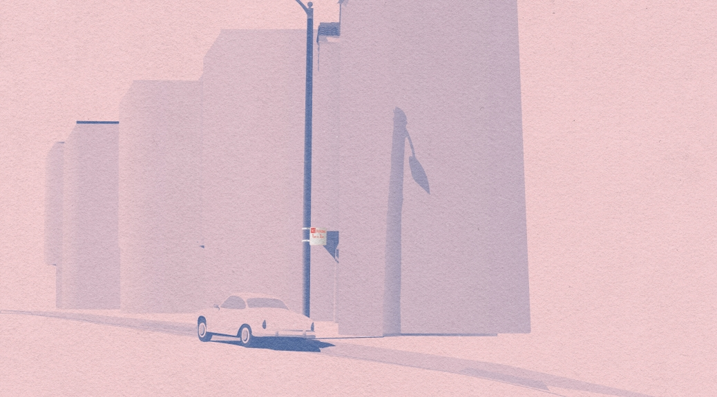 Karman ghia parked by streetlamp and building