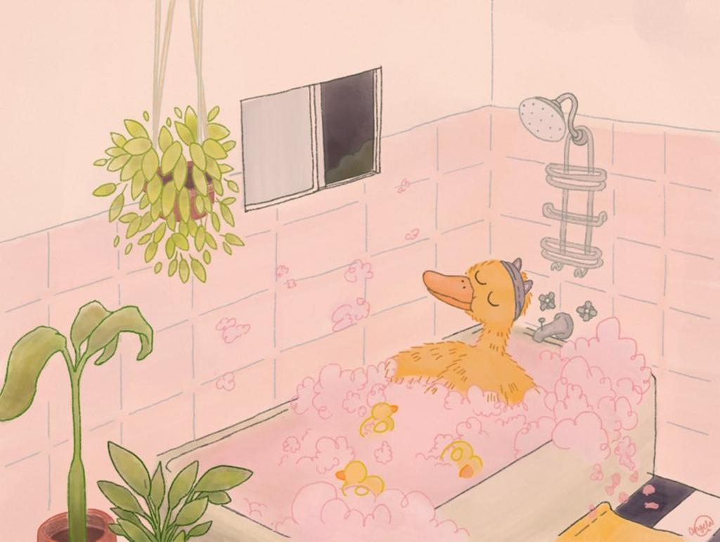 Duck taking a bubble bath
